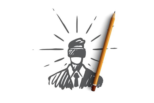 Technologie, realität, brille, spiel, virtuelles konzept. hand gezeichneter mann in der konzeptskizze der virtuellen brille.