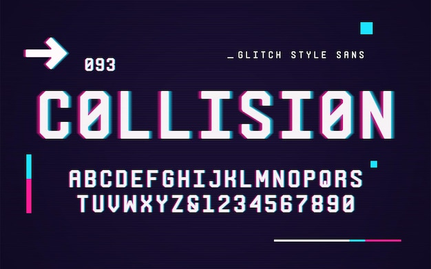Technologie san serif großbuchstaben und zahlen