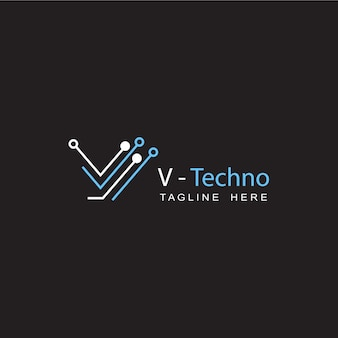 Technologie-schaltkreis-buchstabe v anfängliches logo-vorlagendesign