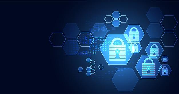 Technologie sechseck digitale cyber-sicherheit datenschutzinformationsnetz
