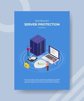 Technologie server schutz menschen ingenieur um server laptop vorhängeschloss schild festplatte