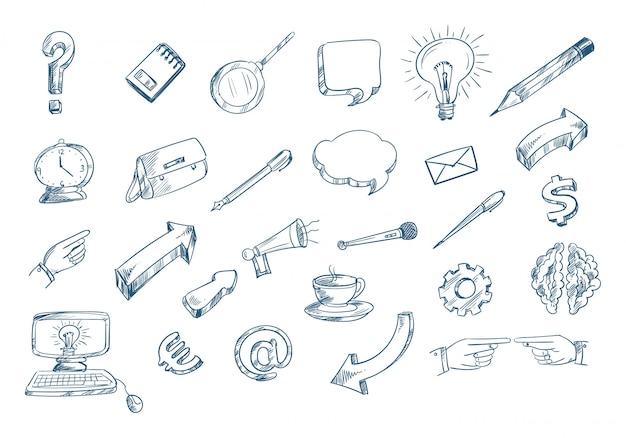 Technologie skizze symbol set gekritzel