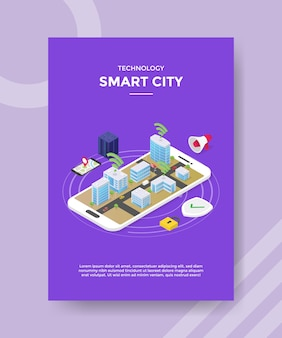 Technologie smart city flyer vorlage
