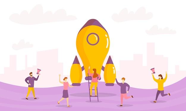 Technologie-startup-produkteinführung winziger personen charakterkonzept.