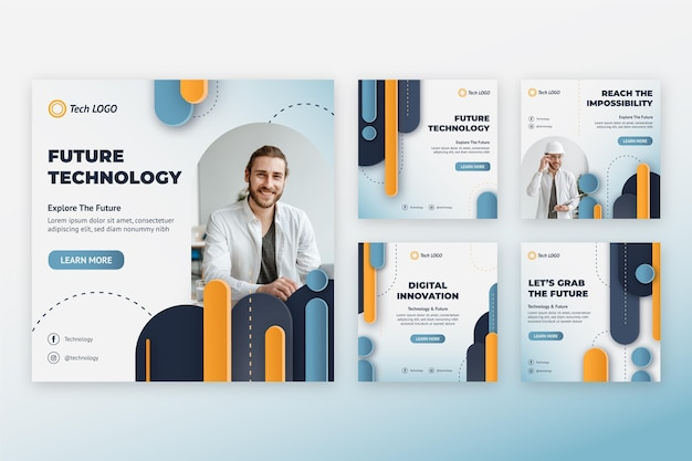 Technologie-template-design von social-media-beiträgen