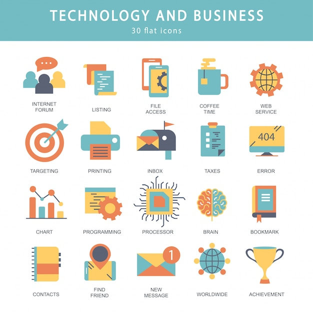 Technologie und business-icon-set