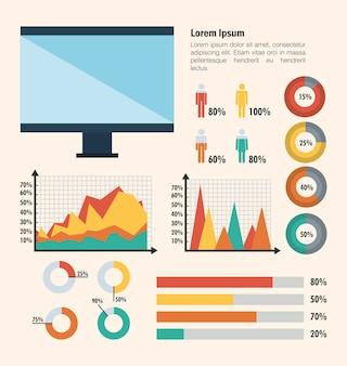 Technologie und business infografik vorlage symbole