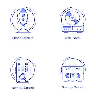 Technologie- und hardware-linie ikonen eingestellt