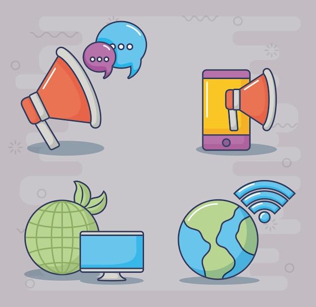 Technologie- und innovationsdesignikonenvektor ilustration