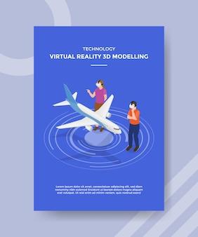 Technologie virtuelle realität 3d-modellierung menschen tragen vr glasfront ebene