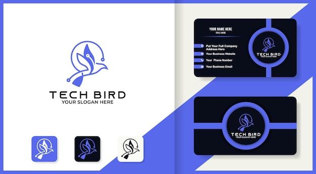 Technologie-vogel-logo-design und visitenkarte