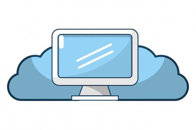 Technologie web cloud cartoon
