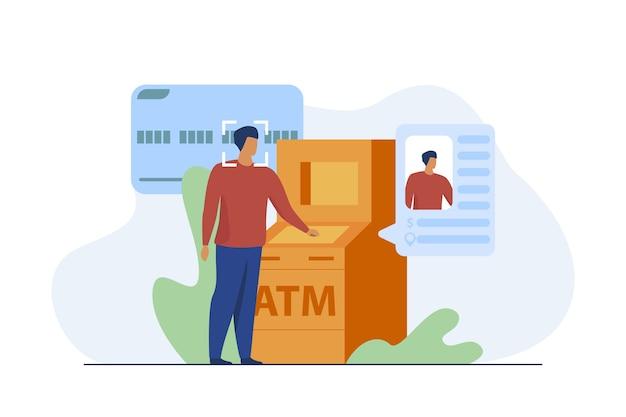 Technologie zur gesichtserkennung von banken. mann, der geldautomaten mit flacher vektorillustration des gesichtsabtastens verwendet. finanzen, sicherheit, zugang