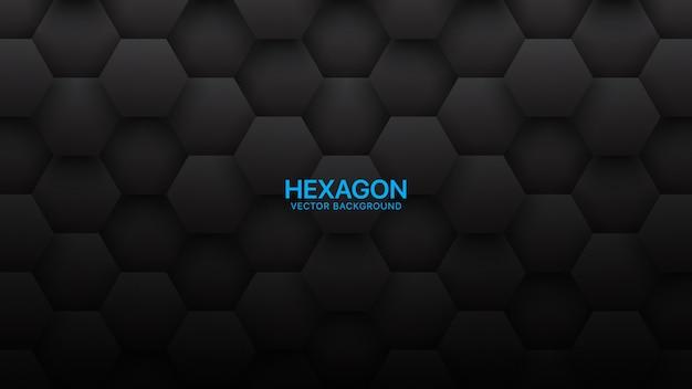 Technologie-zusammenfassungs-schwarz-hintergrund der hexagon-3d
