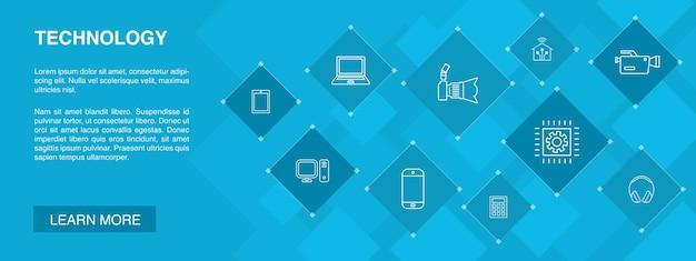 Technologiebanner 10 icons concept.smart home, fotokamera, tablet-computer, smartphone einfache icons