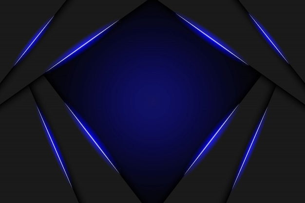 Technologiedesign-schablonenhintergrund des abstrakten metallischen blauen schwarzen rahmenplans moderner