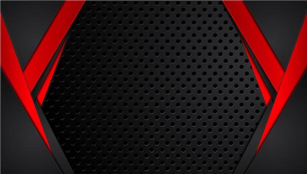 Technologiedesign-schablonenhintergrund des abstrakten metallischen roten schwarzen rahmenplans moderner