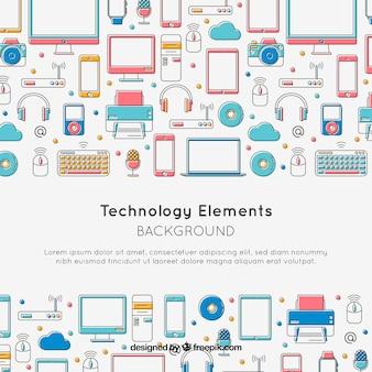Technologieelementhintergrund in der flachen art