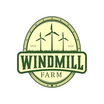 Technologiegrün-logodesign der feldwindmühlenbauernhofnaturumgebungsenergieluft modernen