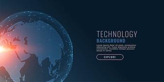 Technologiehintergrund mit Erde und Verbindungspunkten