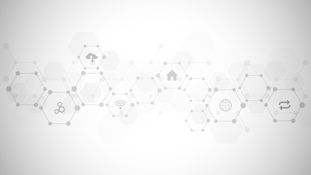 Technologiehintergrund mit flachen symbolen und symbolen