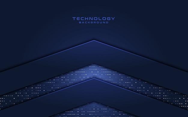 Technologiehintergrund mit form und funkeln des pfeiles 3d.