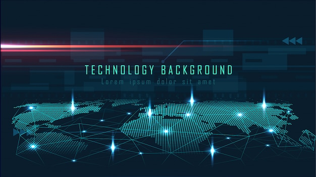 Technologiehintergrund mit globalem verbindungskonzept