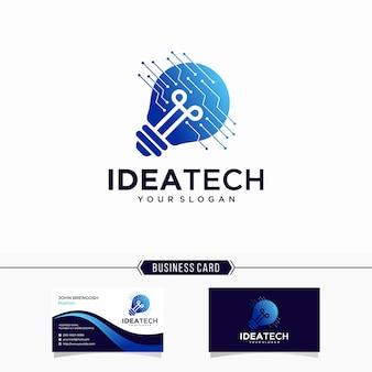 Technologieidee und visitenkarte der digitalen glühbirnenlogo