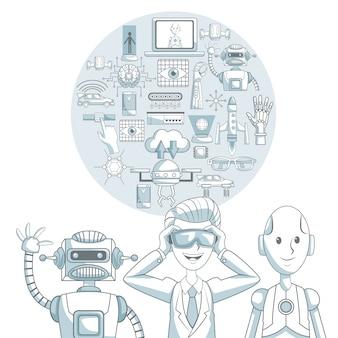 Technologieikonendesign über weißem hintergrund