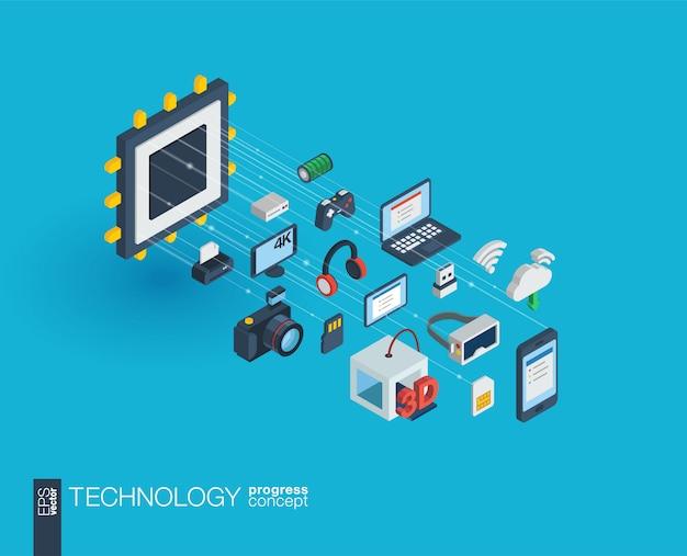 Technologieintegrierte web-icons. isometrisches fortschrittskonzept für digitale netzwerke. verbundenes grafisches linienwachstumssystem. hintergrund mit drahtlosem druck und virtueller realität. infograph