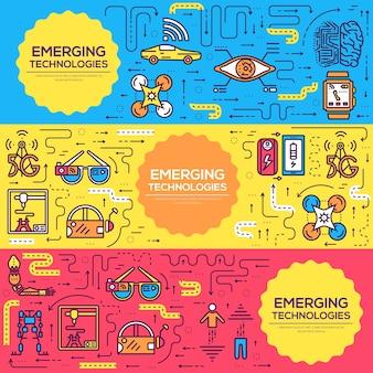 Technologiekarten dünne linie gesetzt
