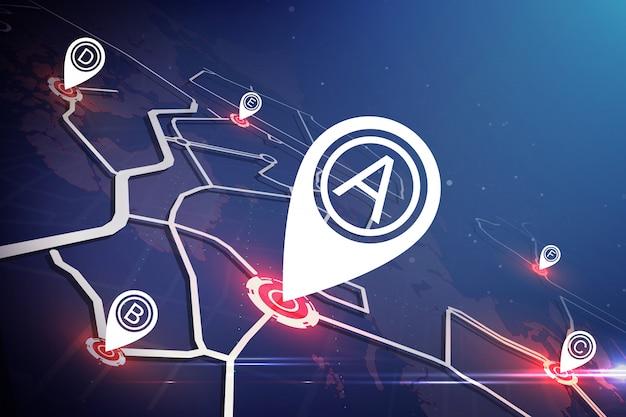 Technologiekartenkonzept. standortmarkierung auf karte auf der ganzen welt