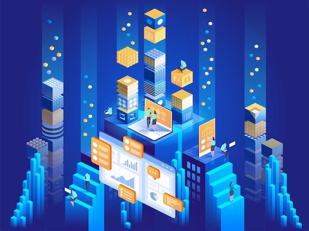 Technologiekonzept des digitalen marketings und der app-entwicklung. menschen, die mit diagrammen interagieren und statistiken analysieren. datenvisualisierung. isometrische darstellung.