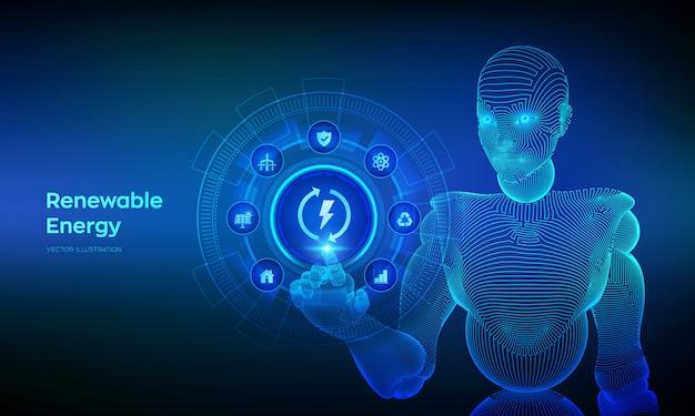 Technologiekonzept für erneuerbare energiequellen auf virtuellem bildschirm. drahtgebundene cyborg-hand, die die digitale schnittstelle berührt.