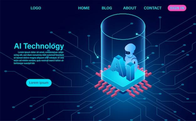 Technologiekonzept für künstliche intelligenz. daten- und engineering-konzept. isometrisch