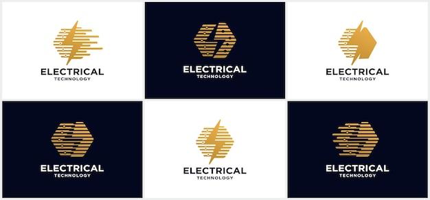 Technologielogo der elektroindustrie. stärke-logo. mit blitz und dunklem hintergrund.