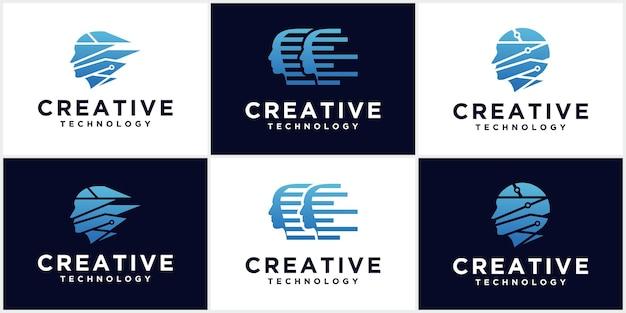 Technologiemann-kopflogo, konzeptzeichen für wirtschaft, wissenschaft, psychologie, medizin. kreatives zeichendesign des männlichen schattenbildkopfes.