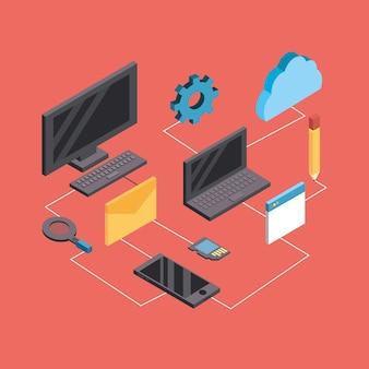 Technologien netzwerk mit datendiensten verbinden