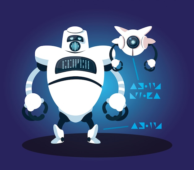 Technologieroboterkarikatur über blau