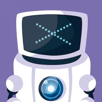Technologieroboterkarikatur über purpur