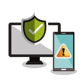 Technologiewarnung und häkchen