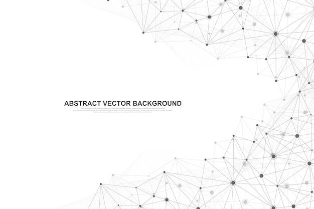Technologische abstrakte linien und punkte verbinden den hintergrund.
