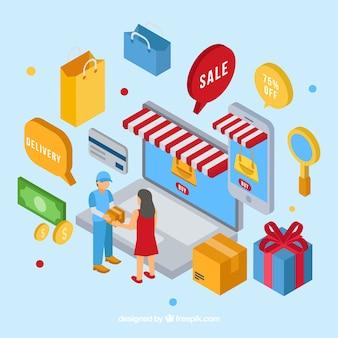 Technologische geräte und shopping-elemente