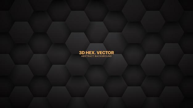 Technologischer d-sechseck-minimalistischer schwarzer abstrakter hintergrund