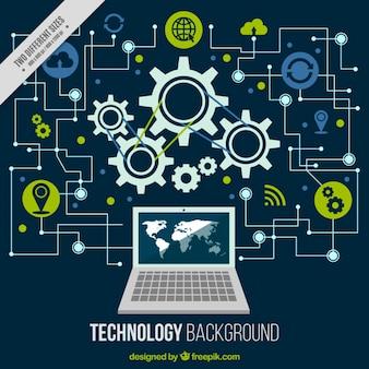 Technologischer hintergrund mit einem computer und schaltungen