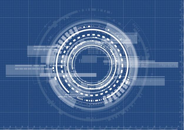 Technologischer schnittstellensystemplanhintergrundvektor