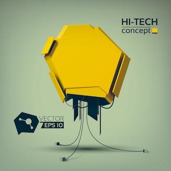 Technologisches hi-tech-konzept mit gelbem geometrischem objekt im futuristischen stil