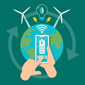 Technologisches ökologiekonzept mit planeten