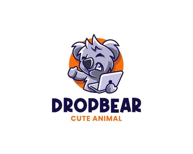 Techy drop bear holding laptop logo vorlage
