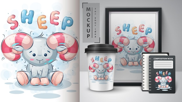 Teddy-schaf-poster und merchandising